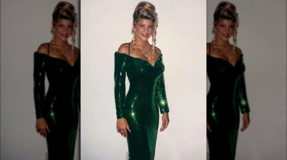 Stacy Ferguson in einem grünen Ballkleid