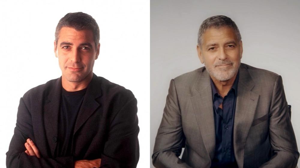 George Clooney auf einer Pressekonferenz 1997;  George Clooney bei einer Präsentation der Hollywood Foreign Press Association