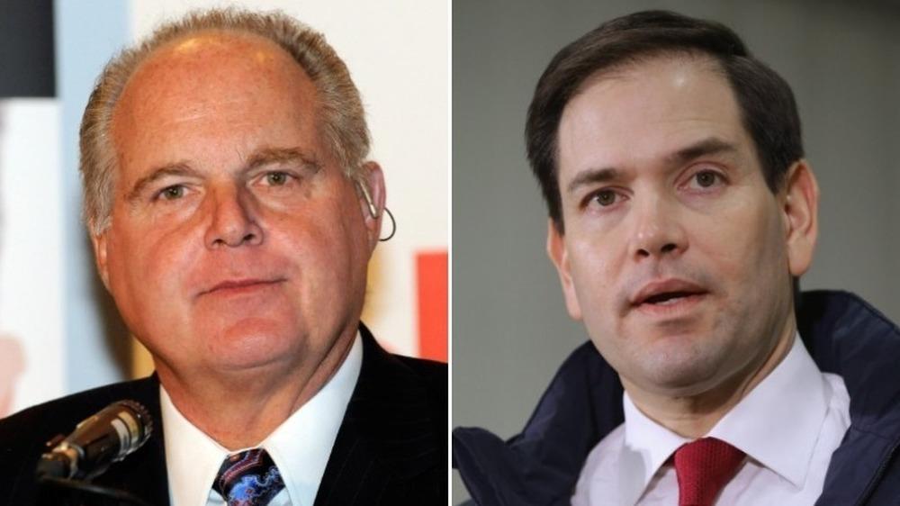 Rush Limbaugh grinst (links), Marco Rubio spricht (rechts)