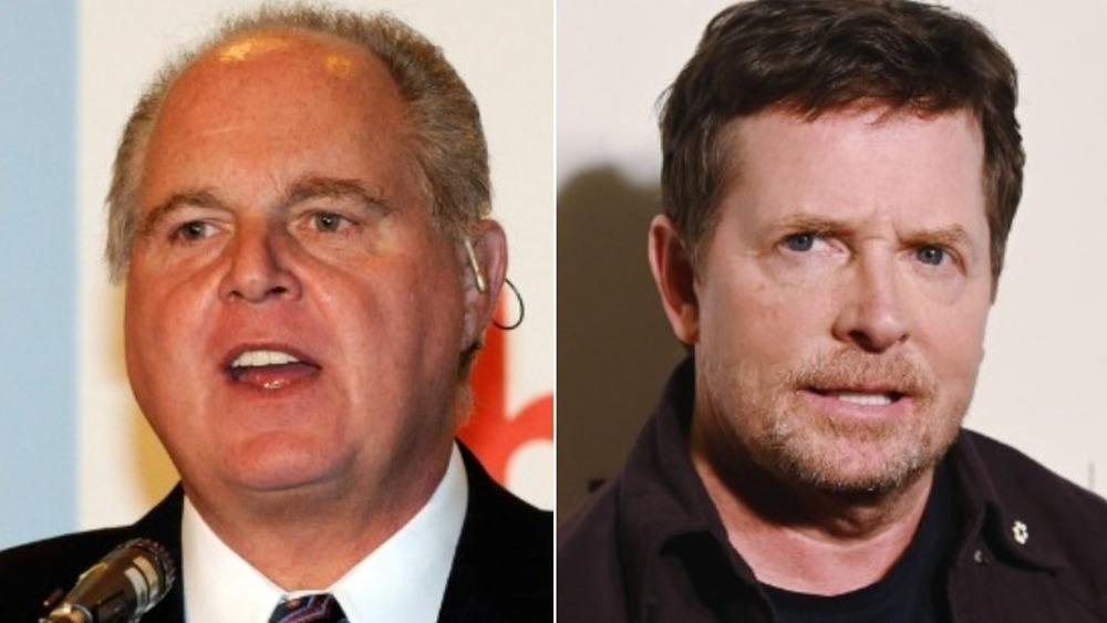 Rush Limbaugh spricht (links), Michael J. Fox sieht streng aus (rechts)