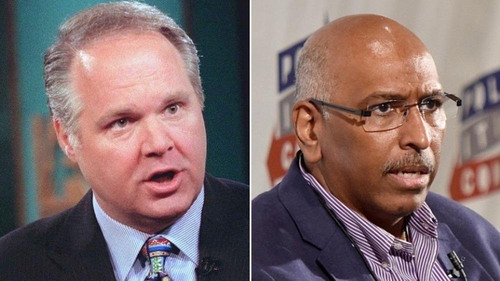 Rush Limbaugh spricht wütend (links), Michael Steele runzelt die Stirn (rechts)