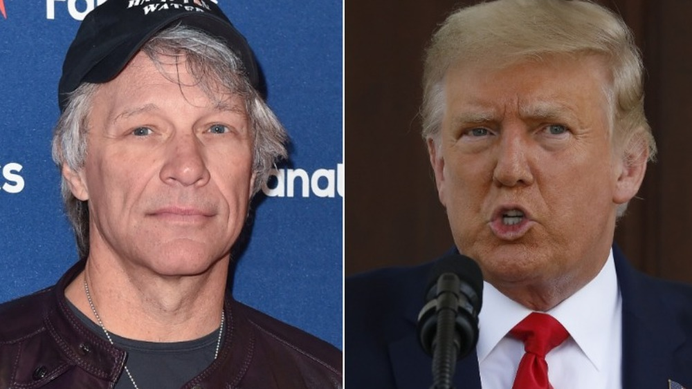 Seite an Seite Fotos von Jon Bon Jovi und Donald Trump