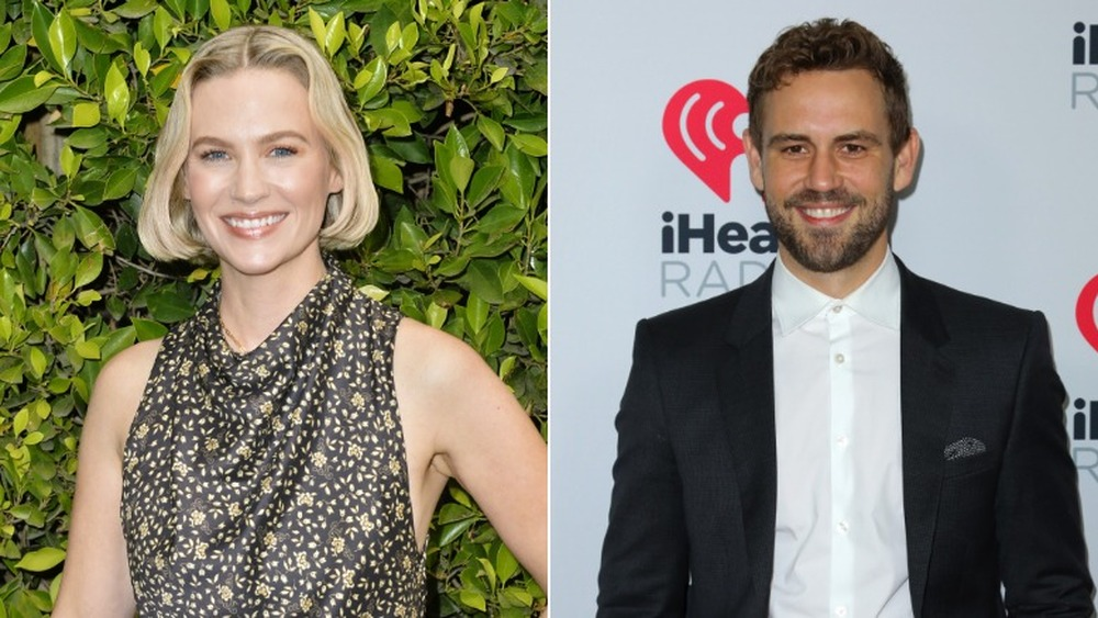 January Jones lächelt (links), Nick Viall lächelt (rechts)