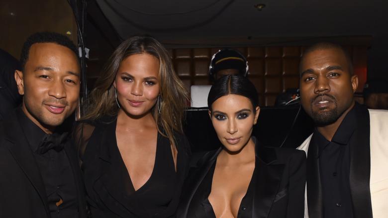 Kim Kardashian und Kanye West mit Chrissy Teigen und John Legend
