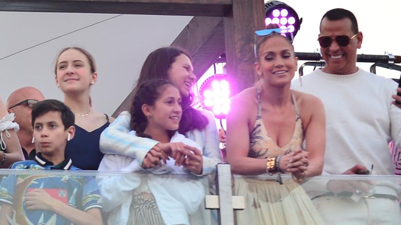 Jennifer Lopez und Alex Rodriguez mit ihren Kindern