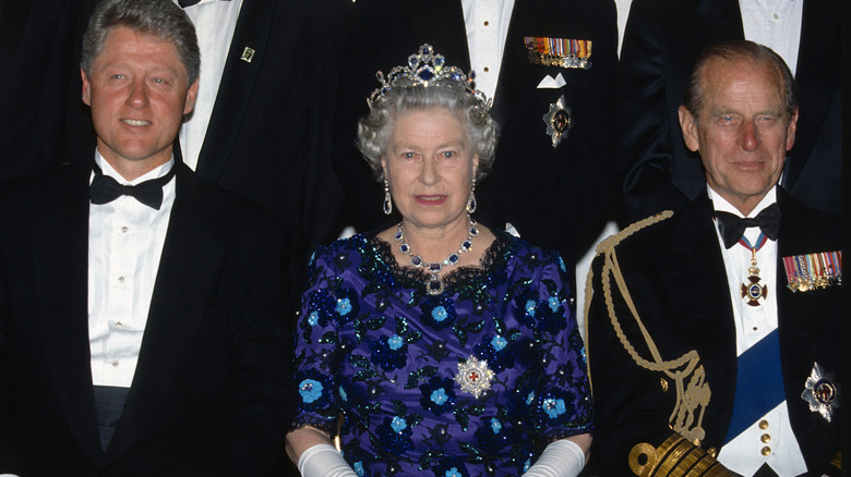 Bill Clinton und Queen Elizabeth und Prinz Philip