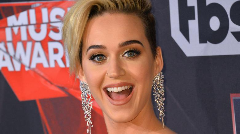 Katy Perry trägt lange Ohrringe