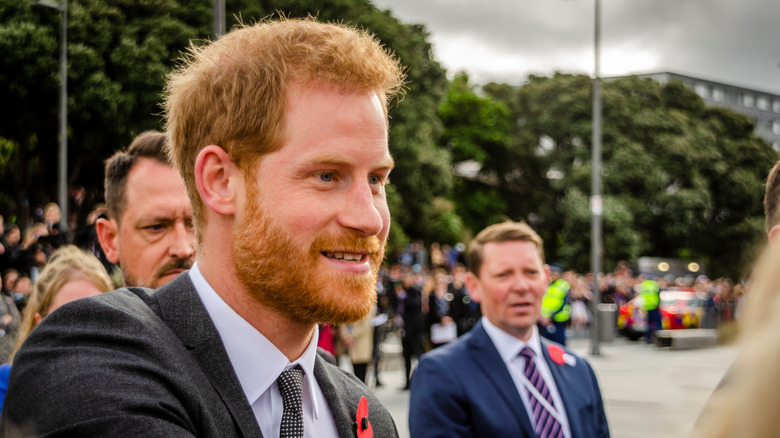 Prinz Harry draußen in einer Menschenmenge