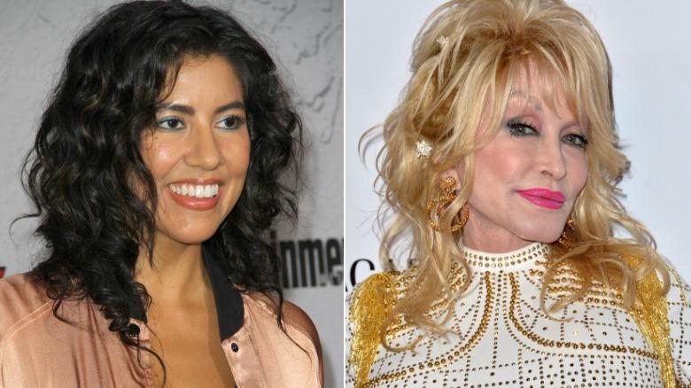Stephanie Beatriz lächelt, Dolly Parton lächelt