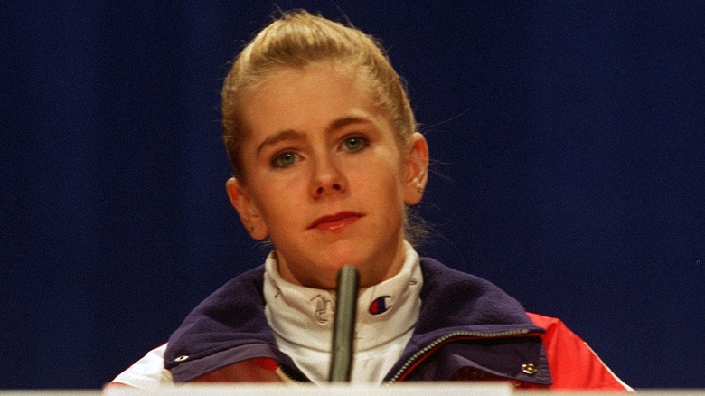 Tonya Harding bei einer Pressekonferenz