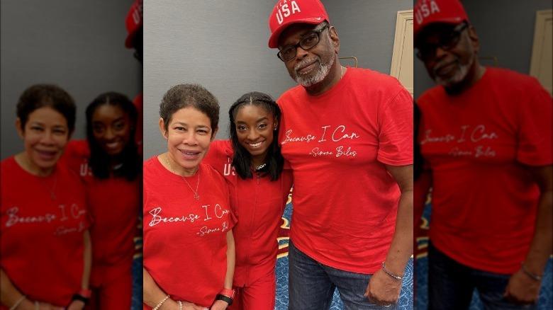 Simone Biles mit ihren Eltern