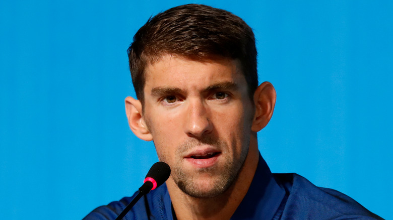 Michael Phelps bei einer Pressekonferenz