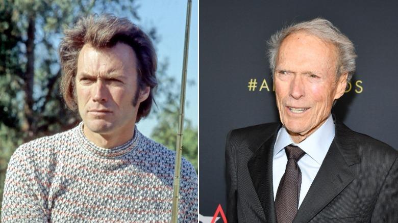 Junger und alter Clint Eastwood Bildspaltung