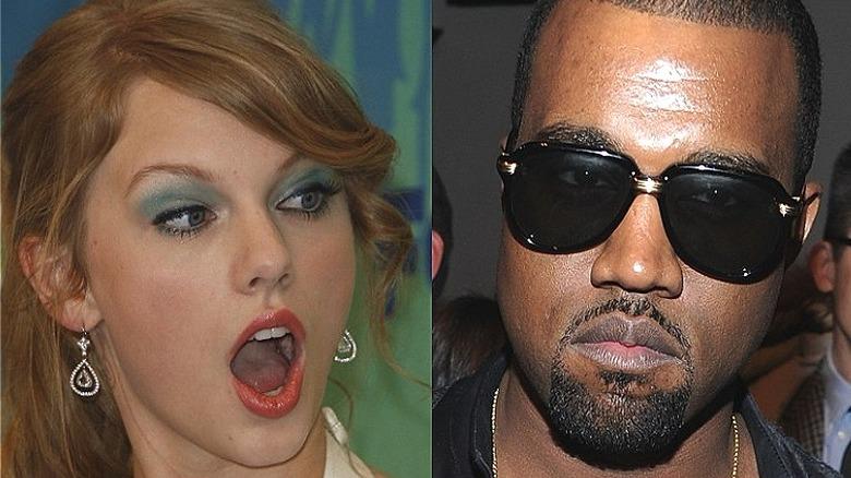 Taylor Swift sieht schockiert aus, Kanye West mit Sonnenbrille