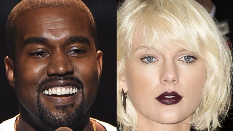Kanye West lacht, Taylor Swift mit dunklem Lippenstift