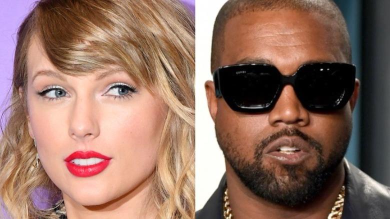 Taylor Swift trägt rosa Lippenstift und ein seitliches Auge, Kanye West in Gucci-Sonnenbrille