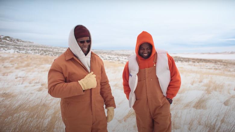 Ray West und Kanye West lachen